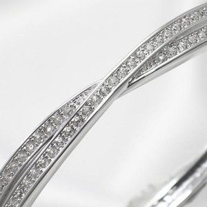 Swarovski Edith Twisted Silver Crystal Bangle
